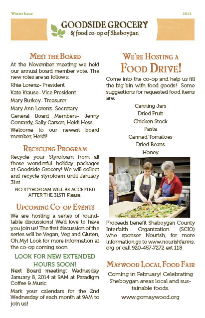 Goodside Grocery Newsletter Winter pg 1
