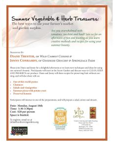 Don't Miss this Great Workshop on Cooking!